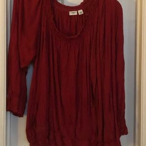 Beautiful rich red pleated blouse